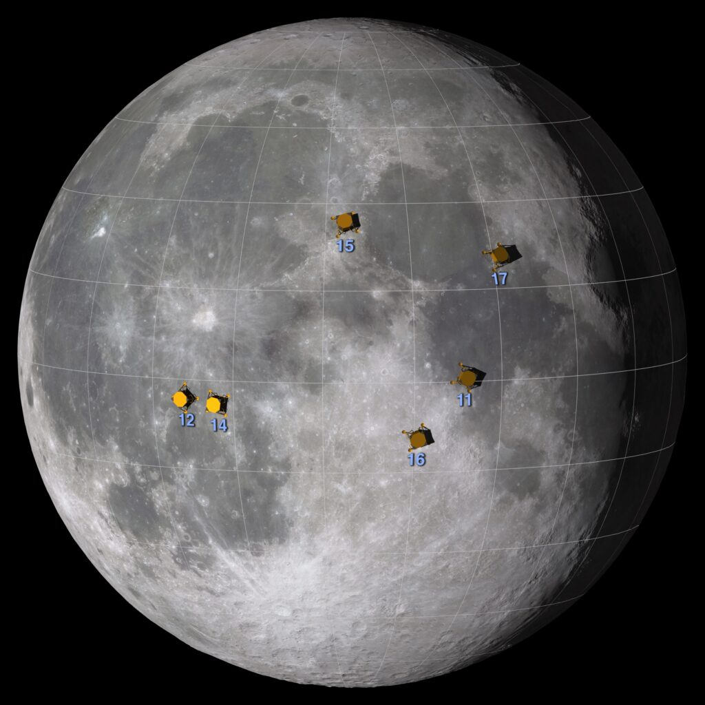 Moon landing sites for Apollo missions marked on a photo of the Moon.
