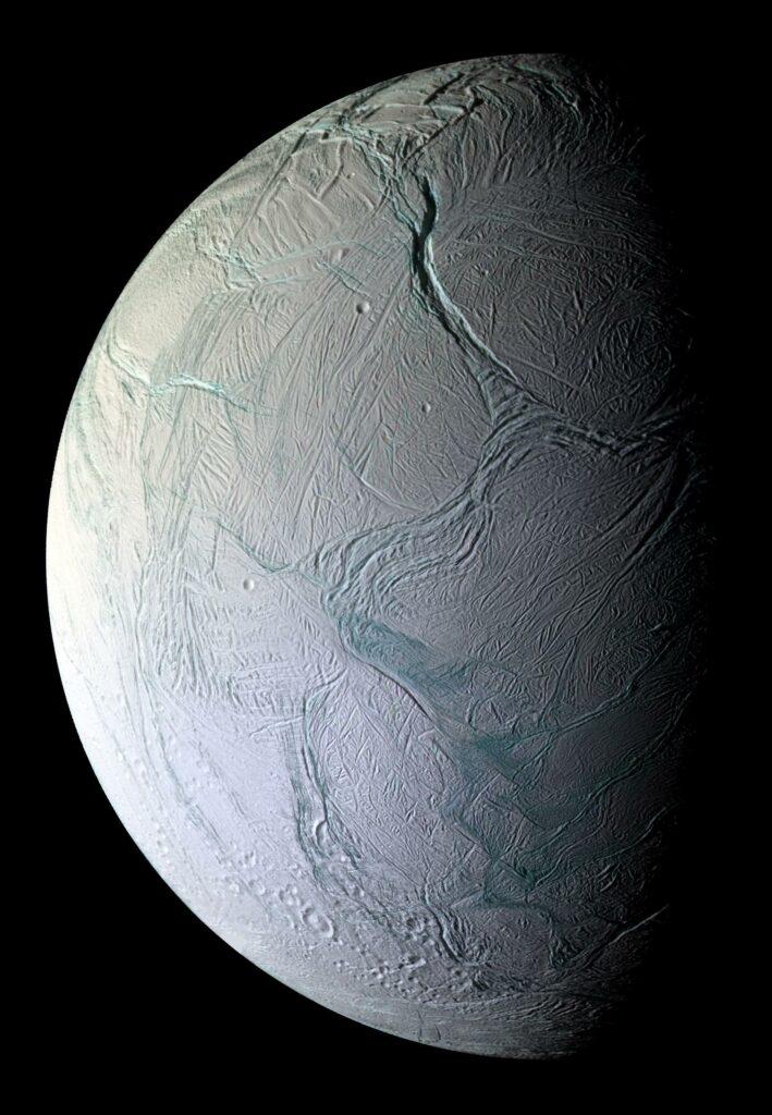 Saturn's moon Enceladus in false colour