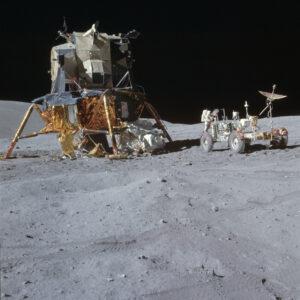 Apollo 15 lunar module with lunar rover and astronaut Irwin.