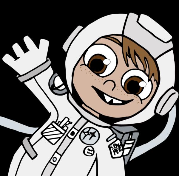 Junior astronaut Tanno waving