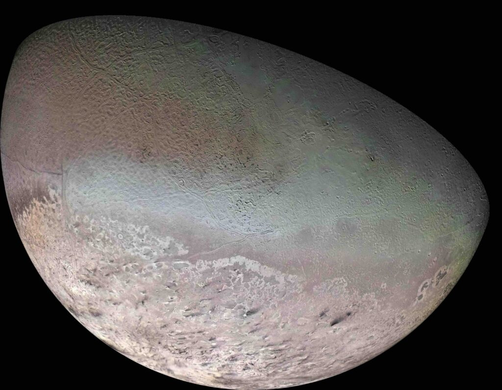 Voyager 2 photo of Neptune's moon Triton.
