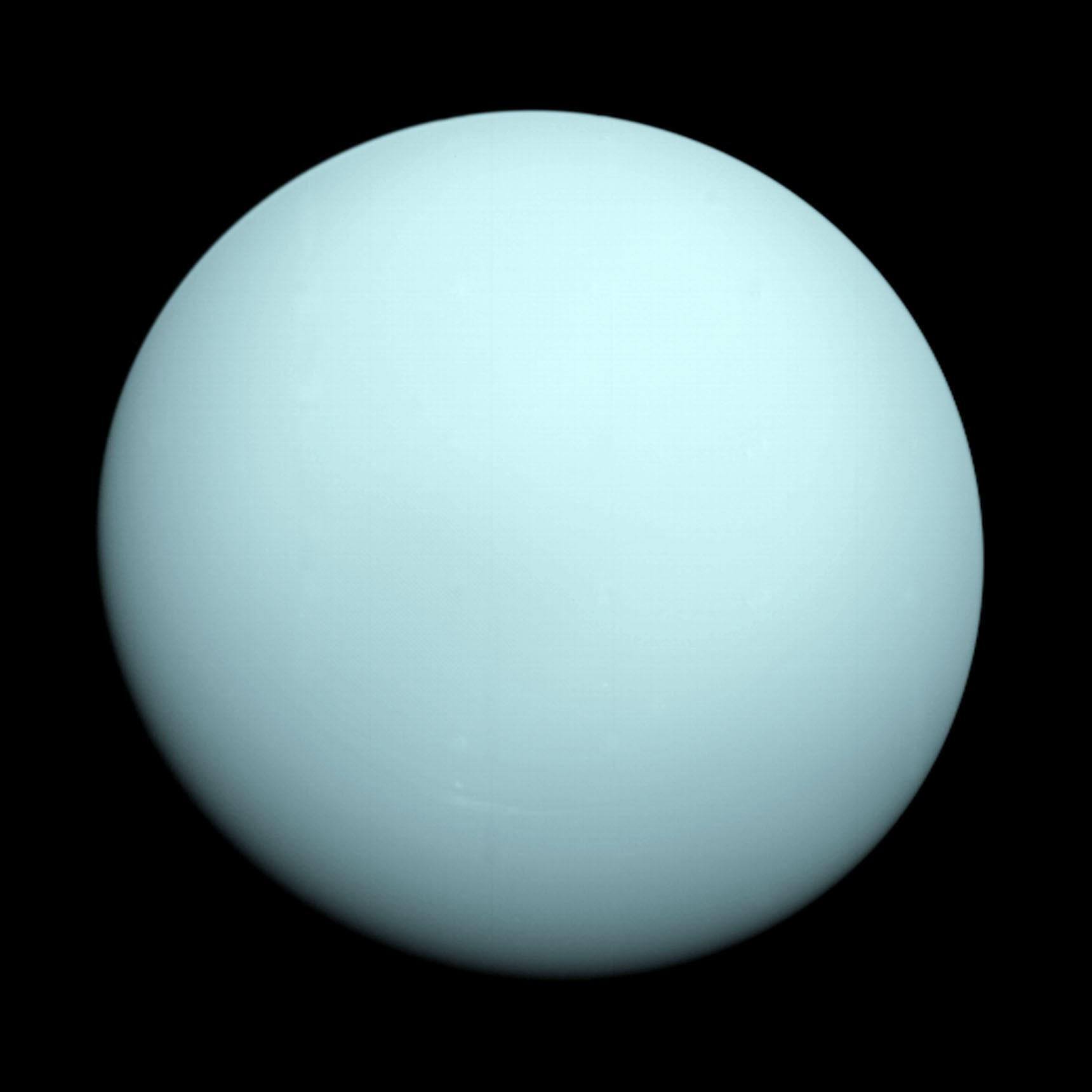 This is an image of the planet Uranus taken by the spacecraft Voyager 2 in 1986.