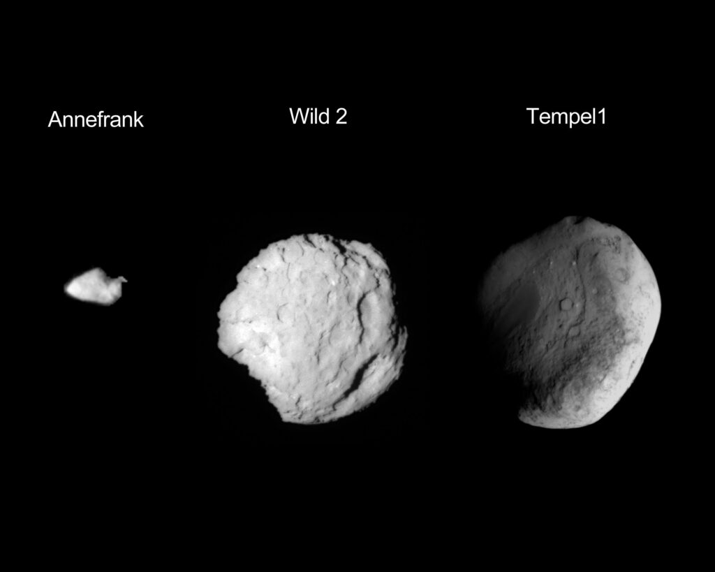 Three asteroids: Annefrank, Wild2 and Tempel1