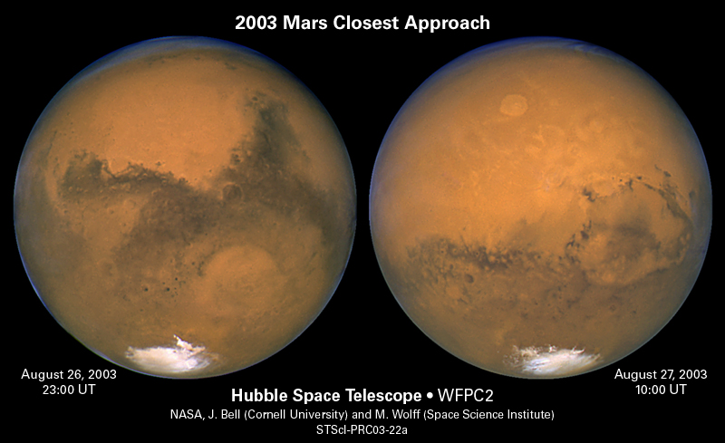 Mars photographed in 2003 by the Hubble Space Telescope