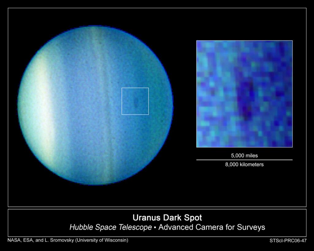 Uranus image, showing dark spot in the atmosphere.