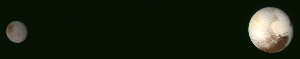 Pluto and Charon are shown in enhanced color in this image, which is the highest-resolution color image of the pair so far returned to Earth by New Horizons. It was taken at 06:49 UT on July 14, 2015, five hours before Pluto closest approach, from a range of 250,000 kilometers
