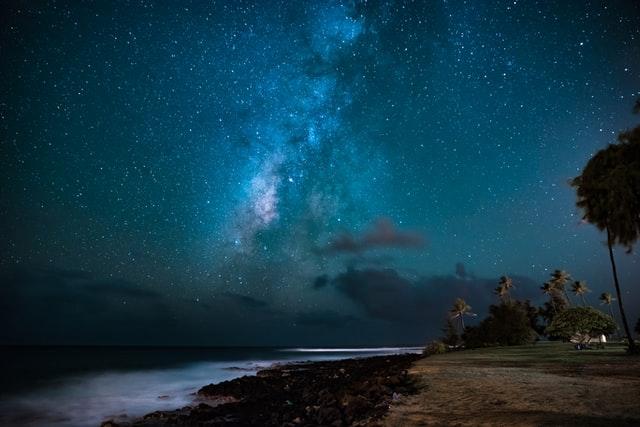 Milky way over beach