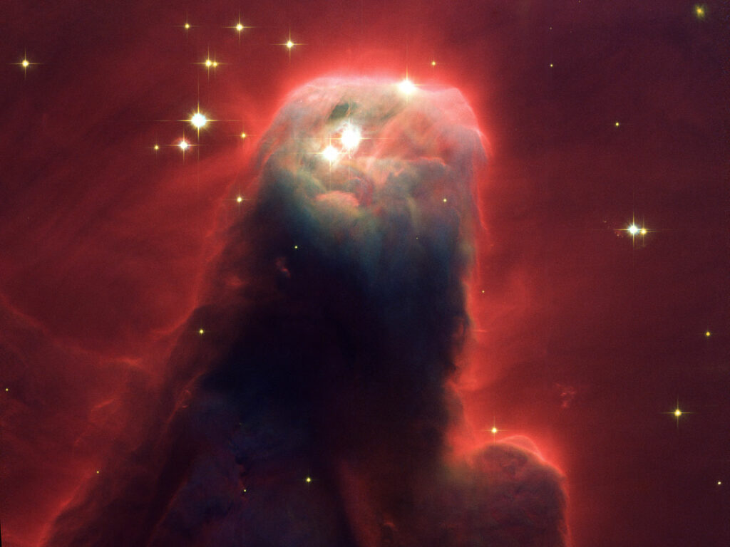 Resembling a nightmarish beast rearing its head from a crimson sea, this celestial object is actually just a pillar of gas and dust. Called the Cone Nebula (in NGC 2264) - so named because in ground-based images it has a conical shape - this monstrous pillar resides in a turbulent star-forming region. This picture, taken by the newly installed Advanced Camera for Surveys (ACS) aboard the NASA/ESA Hubble Space Telescope, shows the upper 2.5 light-years of the Cone, a height that equals 23 million roundtrips to the Moon. The entire pillar is seven light-years long. Radiation from hot, young stars (located beyond the top of the image) has slowly eroded the nebula over millions of years. Ultraviolet light heats the edges of the dark cloud, releasing gas into the relatively empty region of surrounding space. There, additional ultraviolet radiation causes the hydrogen gas to glow, which produces the red halo of light seen around the pillar. A similar process occurs on a much smaller scale to gas surrounding a single star, forming the bow-shaped arc seen near the upper left side of the Cone. This arc, seen previously with the Hubble telescope, is 65 times larger than the diameter of our Solar System. The blue-white light from surrounding stars is reflected by dust. Background stars can be seen peeking through the evaporating tendrils of gas, while the turbulent base is pockmarked with stars reddened by dust. Over time, only the densest regions of the Cone will be left. But inside these regions, stars and planets may form. The Cone Nebula resides 2500 light-years away in the constellation Monoceros. The Cone is a cousin of the M16 pillars, which the Hubble telescope imaged in 1995. Consisting mainly of cold gas, the pillars in both regions resist being eroded away by the blistering ultraviolet radiation from young, massive stars. Pillars like the Cone and M16 are common in large regions of star birth. Astronomers believe that these pillars may be incubators for developing s