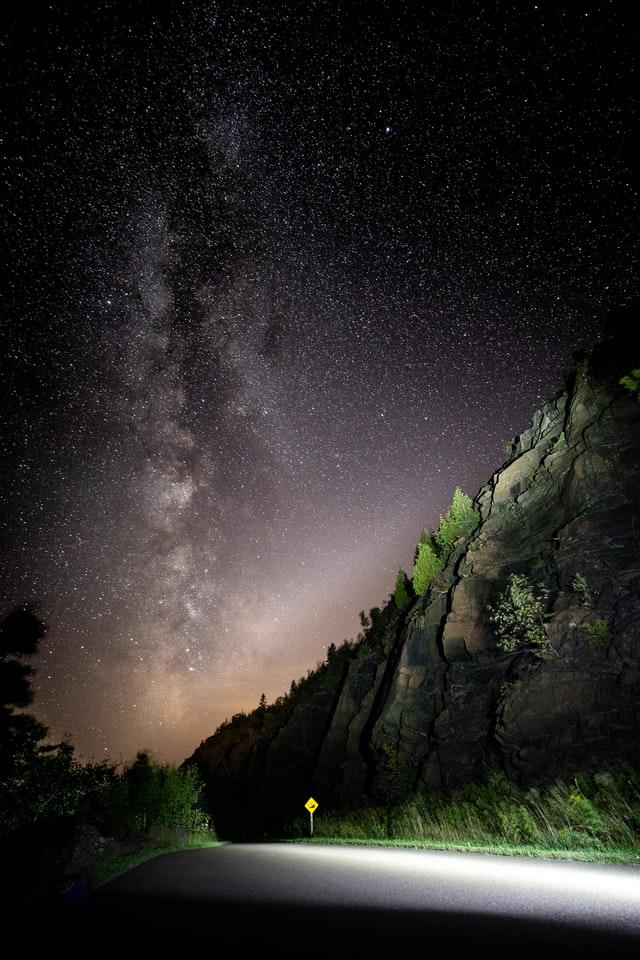 Milky way over road