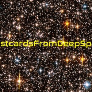 Postcards from deep space logo in a field of stars