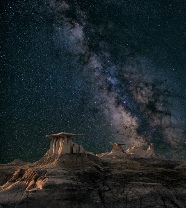 Milky way over rocky canyon