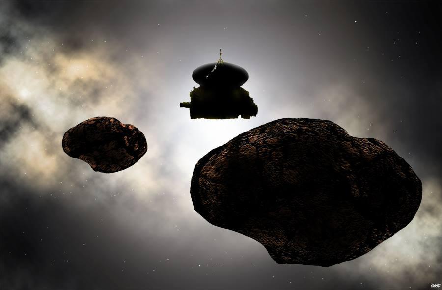 An artist's impression of new horizons near kuiper belt object 2014 MU 69 if it's two separate rocks
