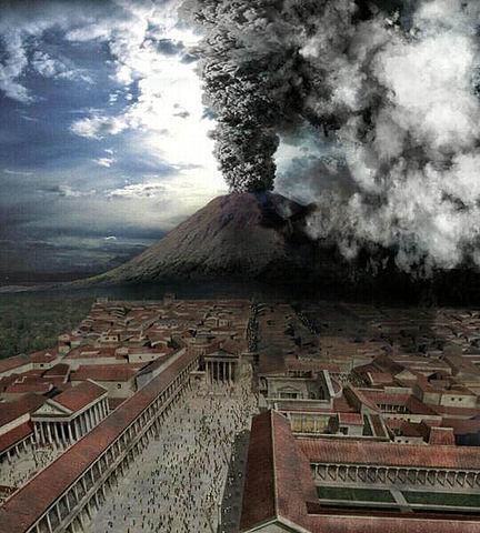 Pompeii as Vesuvius erupts. Image credit: Creative Labs (Wiki)