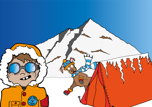 Tanno and Iguda by a snowfield volcano