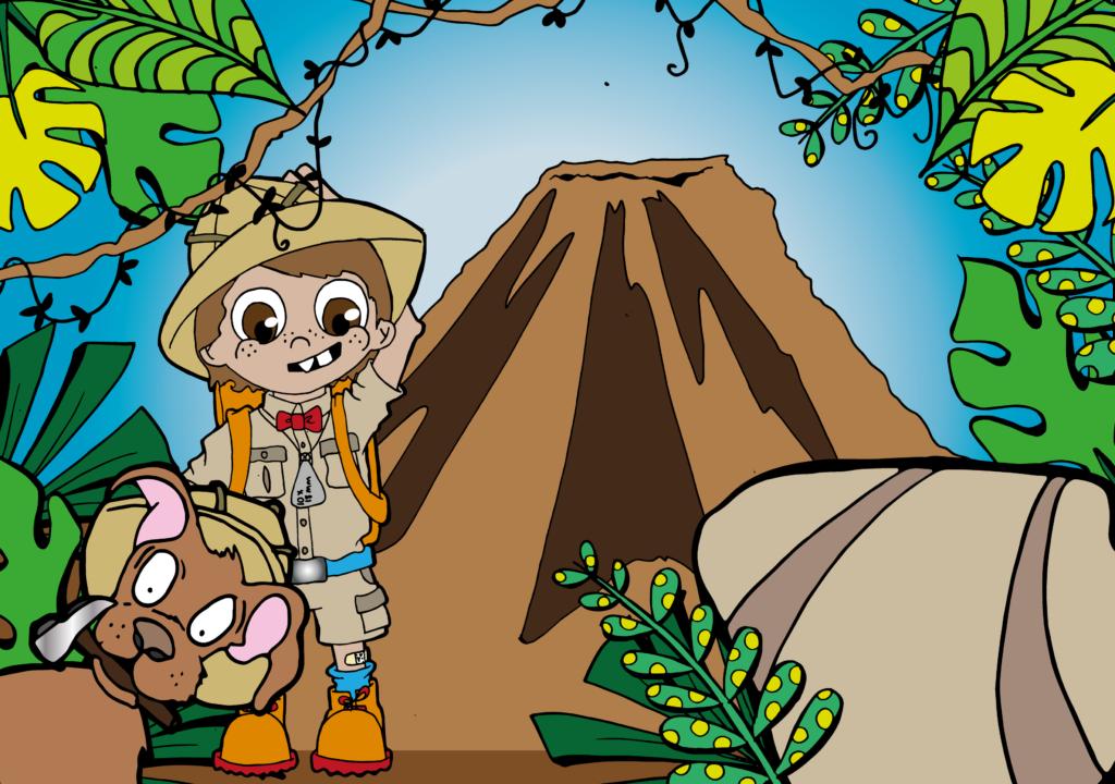 Tanno and Iguda in the jungle near a volcano, drawn by Eli Allison