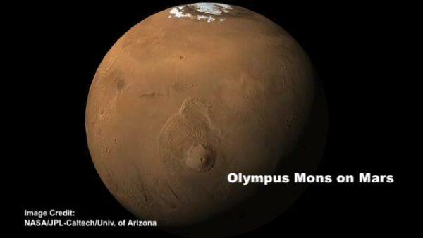 olympus Mons volcano on Mars; image credit: NASA/JPL-Caltech/University of Arizona